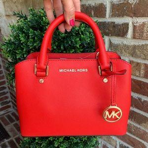 Brand New Michael Kors Savannah Leather Satchel.